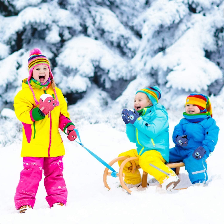 Snowboard MoKo Guanti da Sci per Bambini(1-8 Anni) Ciclismo Guanti Indernale Antivento Impermeabile Guanti Termici Caldi per Sci Attivit/à Outdoor