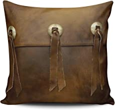 WEINIYA Home Decoration Throw Pillow Case 18X18 Inch Faux Leather Fringe Buckle Smoked Brown Square Custom Pillowcase Cushion Cover Double Sided Printed (Set of 1)