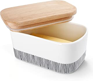 Sweese 303.212 Butter Dish - Porcelain Keeper with Airtight Beech Wooden Lid, Holds Up to 2 Sticks of Butter, Stylish