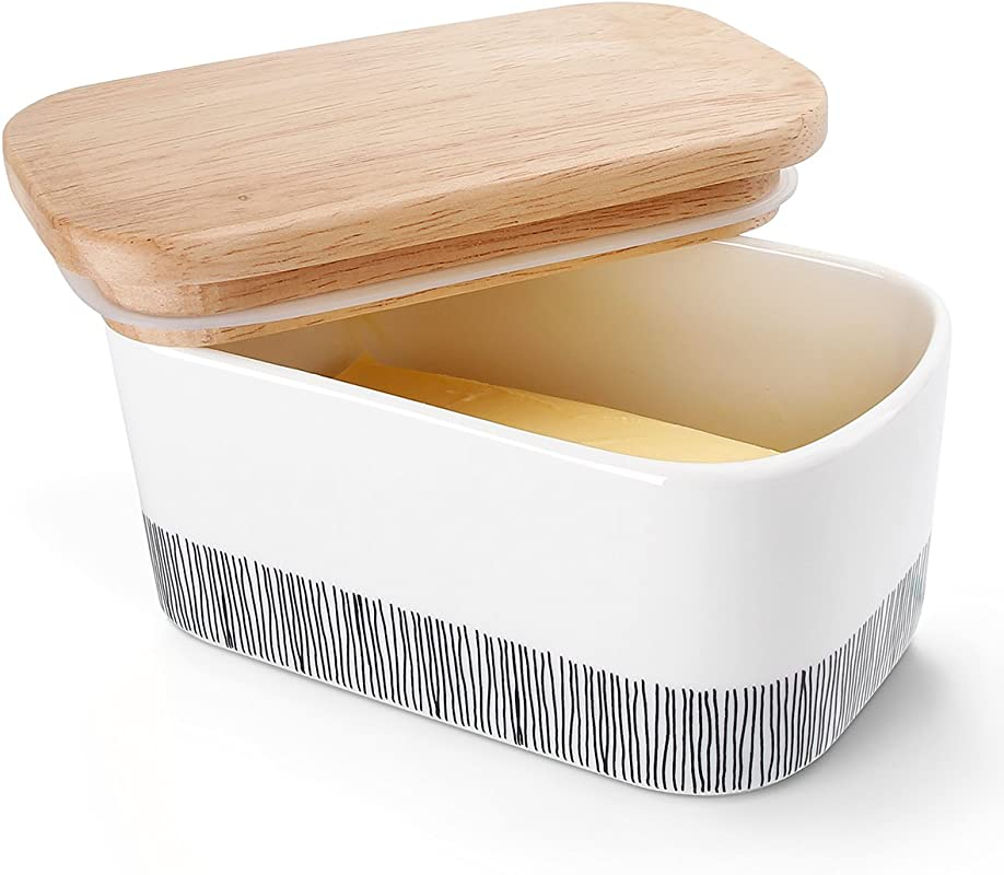 Sweese 303 212 Butter Dish Porcelain Keeper With Airtight Beech Wooden Lid Holds Up To 2 Sticks Of Butter Stylish