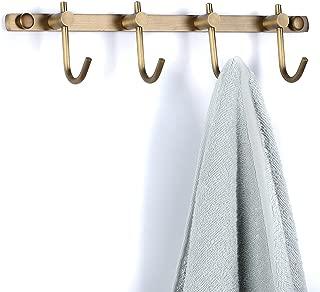 BATHSIR Antique Brass Simple Wall Mounted Coat Hook,4 Hooks Robe Heavy Duty Hat Rack Classic Bathroom Accessory