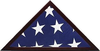 Smashed Banana American Flag Display Case - Wood Frame Fits 5x9.5' Folded Flag - Mahogany/Cherry - Veteran Burial Memory - Glass Front