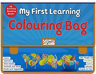 Laster Early Learning Colouring Bag- Learning Exciting 10 Different Books set, Early Learning Books For Kids With Bag, Ski...
