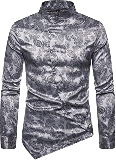 desolateness Men Stand Collar Tunic Long Sleeves Pattern Printing Slim Fit Casual Oblique Button Shirt Tops