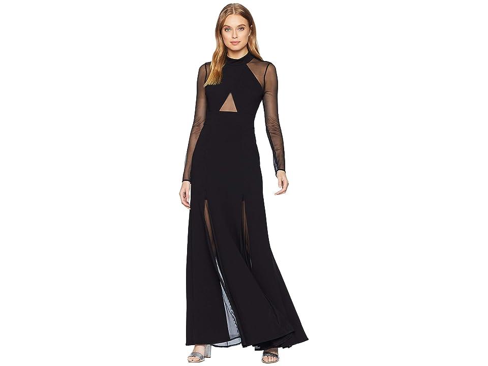 BCBGMAXAZRIA Ellena Long Sleeve Gown with Crisscross (Black) Women