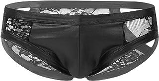 iixpin Mens Low Rise Bugle Pouch Panties Underwear Faux Leather Mesh Lace Patchwork Briefs