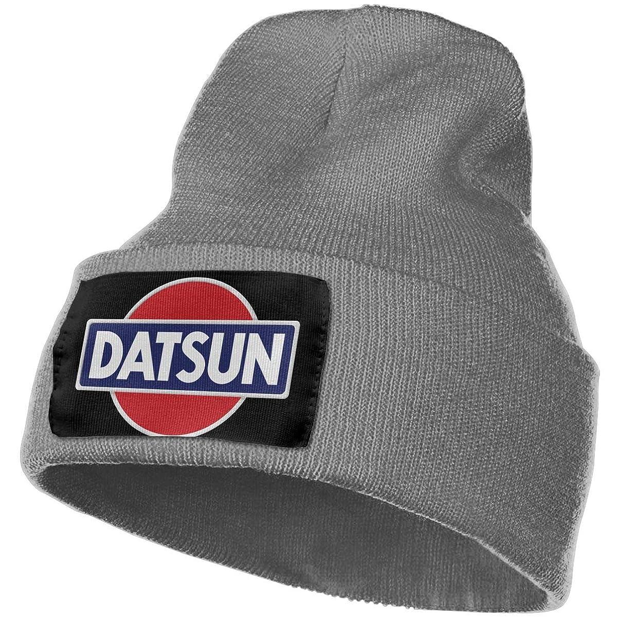 MACA Datsun Emblem Car Logo Unisex Slouch Beanie Hats - Thick, Warm & Stylish Winter Hats Black