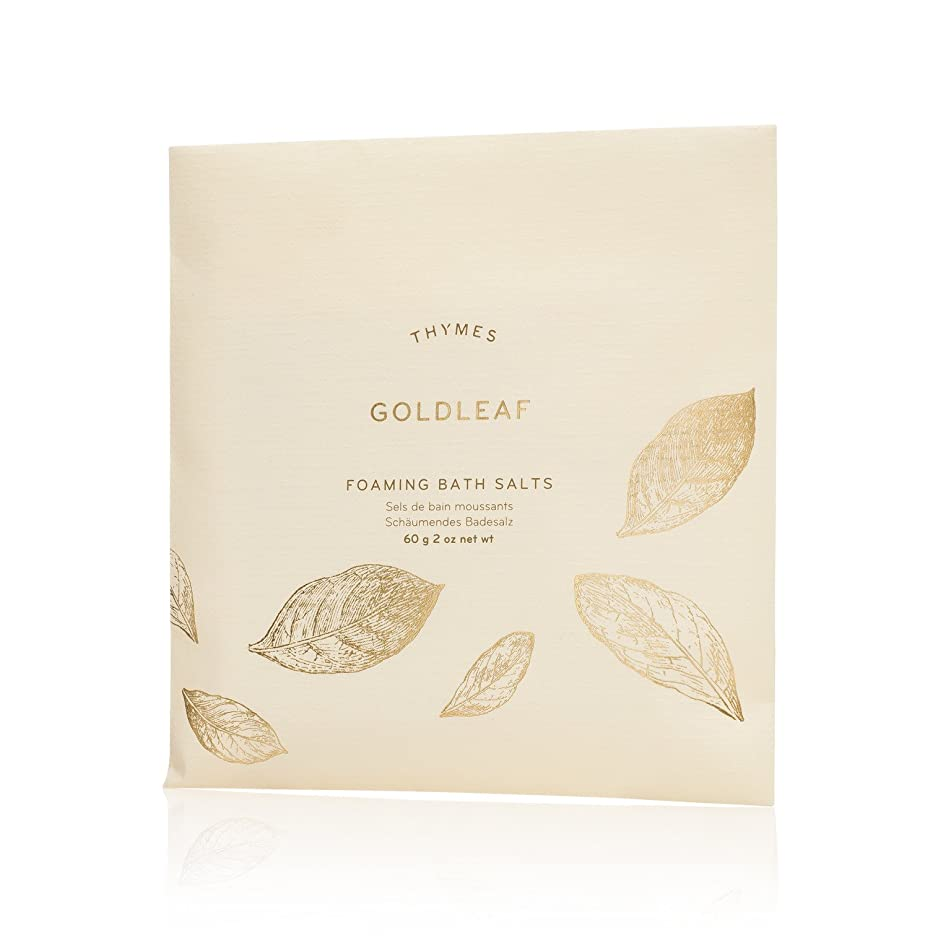 Thymes - Goldleaf Foaming Bath Salts - Soothing Combination of Epsom and Sea Salt for Relaxing Bath Soak - 2 oz