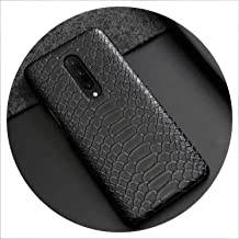 for Oneplus 7 Pro Case Snake Skin PU Leather Back Case for Oneplus 6 7 Fashion Vintage Leather Cover for One Plus 6T,for Oneplus 7,Black