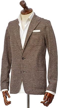[Altea【アルテア】]シングルジャケット COPPER 1952306 38 コットン リネン ジャージ レッド×ブラウン×ホワイト