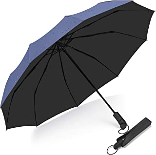 Folding Travel Umbrella 10Ribs,Bulliant Automatic Umberlla Windproof Large Teflon Canopy,Wet-Proof Bag