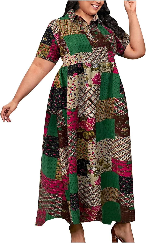 GOODTRADE8 Summer Dresses Maxi Dress Women Printed Suit Collar Short Sleeve Casual Cotton Linen Long Dress