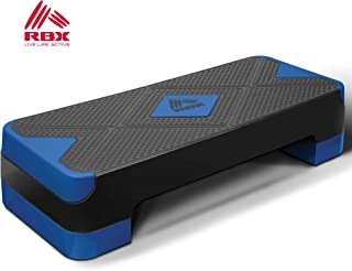 RBX Adjustable Aerobic Fitness Stepper with 2 Levels and Non-Slip Surface