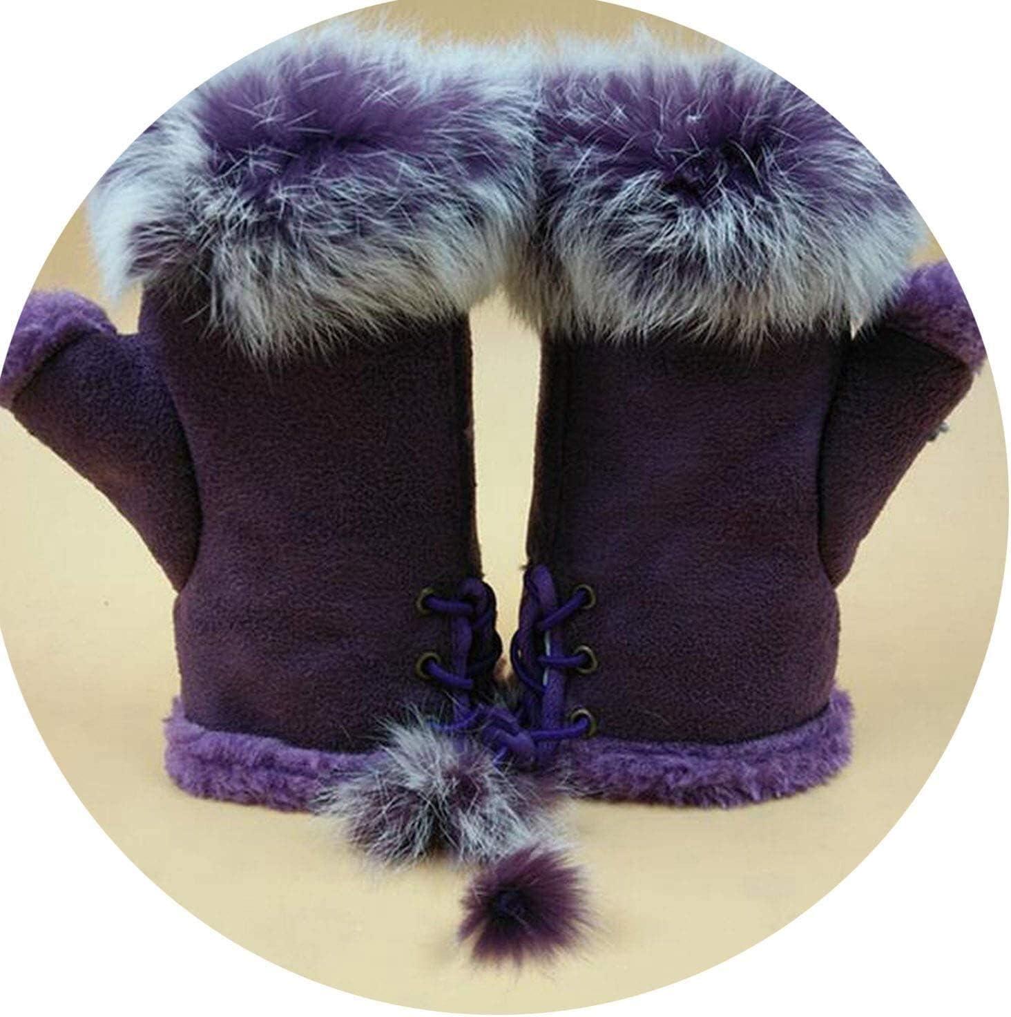 Samantha Warm Gloves Female Rabbit Hair Wrist Gloves Fingerless Computer Typing Mittens Winter Women Suede Leather Warm Thick Cashmere Gloves (Color : Purple, Size : One Size)