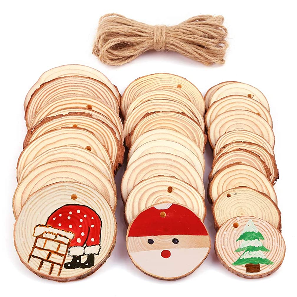Caydo 30 Pieces 1.6-2.8 Inch Wood Slices 3 Different Size Unfinished Predrilled Wood Circles Tree Bark Log Discs with 33 Feet Jute Twine