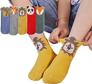 AMBH, Calcetines para bebé, 5 pares de calcetines antideslizantes de algodón anime con patrón de dibujos animados para niños, calcetines divertidos para niños de 1 a 12 años (color: león, talla: S)
