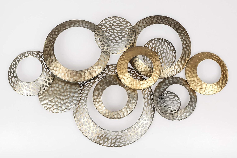Formano Extravagante Wanddeko Industrial Design - Moderne Wanddekoration aus Metall Champagner Gold Silber 76x48cm Gro