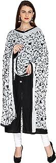 Dupatta Bazaar Woman's White & Black Embrodiered Chiffon dupatta
