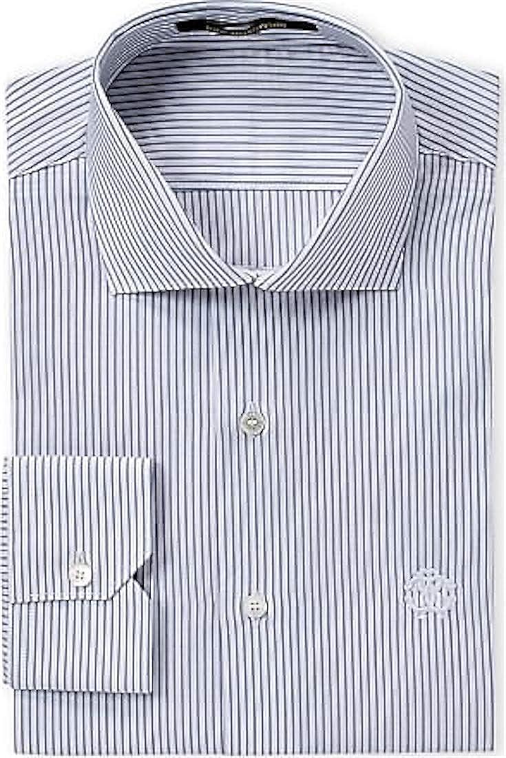 ROBERTO CAVALLI Blue Stripe Slim Fit Logo Dress Shirt 16 (41)