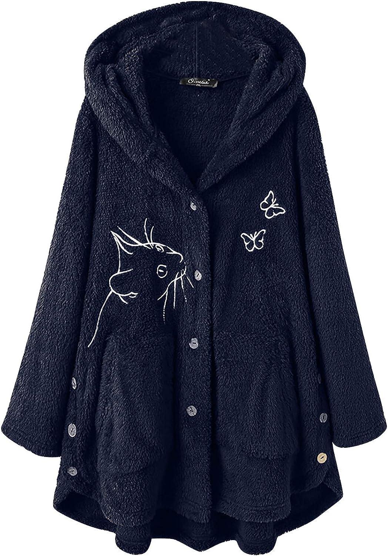Comfy Hoodies for Women Warm Fuzzy Fleece Button Hooded Tops Cute Cat Butterfly Print Coat Loose Side Split Outwear