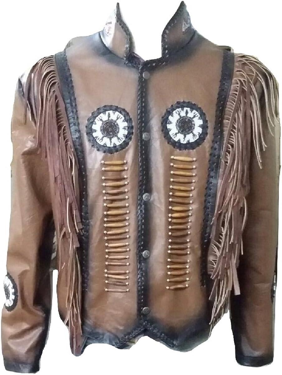Bestzo Men's Western Indian Real Leather Cowboy Jacket Brown XS-5XL