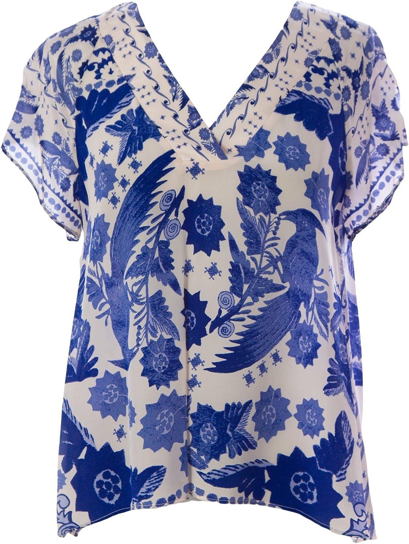 Rebecca Minkoff Women's Sheer Silk Graphic Sage Top Sz 0 Indigo bluee