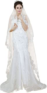 Aukmla Women's 1 Tier Cathedral Bridal Veil with Lace Edge for Women