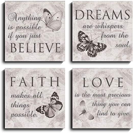 Amazon Com Black And White Butterfly Family Inspirational Canvas Wall Art Quotes Love Dream Faith Believe Bathroom Wall Decor Posters Picture Prints 12 12inch 4 Posters Prints