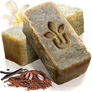 Handmade All Natural Coffee Exfoliating Soap Skin Care Gift Set - Cocoa Vanilla - Face Hand Body Bath Accessories Cleanser...