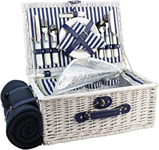 HappyPicnic Picnic Basket Willow for 4 Persons | Large Wicker Hamper Set with Big Insulated Cooler Compartment, Free Fleece Blanket with Waterproof Backing and Cutlery Service Kit- Fashionable White