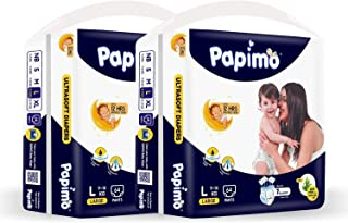 Papimo Baby Diaper Pants with Aloe Vera, Monthly Box Pack, L (128 Count)