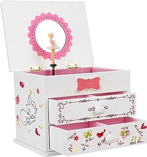 "SONGMICS Ballerina Music Jewelry Box for Little Girls, Cartoon Cat, Fur Elise Melody, 5.9""L x 4.5""W x 4.8""H, White"