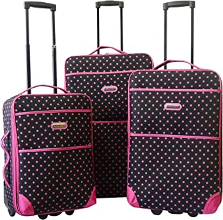 """Karriage-Mate Luggage Set with Carry on Size. 20"""", 24"""", 28"""", 3 Pieces A Set. Expandable, Lightweight (Pink Dots, 2 Wgeels)"""
