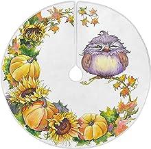 "Naanle Thanksgiving Bird Sunflower Pumpkin Christmas Tree Skirt 35"" Tree Skirt for Merry Christmas Party Christmas Tree De..."