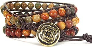 Carolyn Jane's Jewelry Celtic Knot Bracelet Leather Picasso Jasper Beaded Wrap