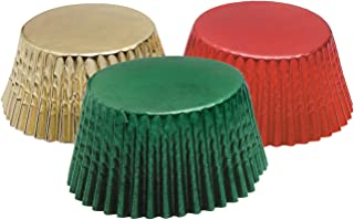 Fox Run 7102 Christmas Foil Disposable Bake Cups, 3 x 3 x 1.25 inches, Red