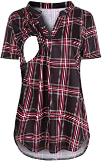 Women's Nursing Top V Neck Plaid Breastfeeding Tunic Double Layer Short Sleeve Maternity Shirt