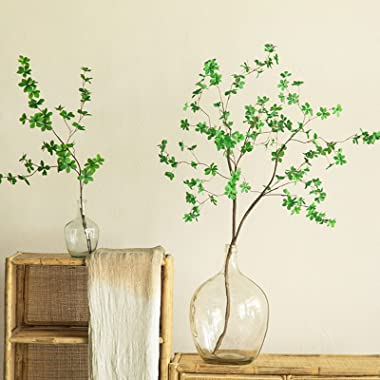 kutuuhome Clear Glass Vase Hand Transparent Glass Vases for Decor Large Bubble Vintage Floor Vase Clear for Branches Faux Art