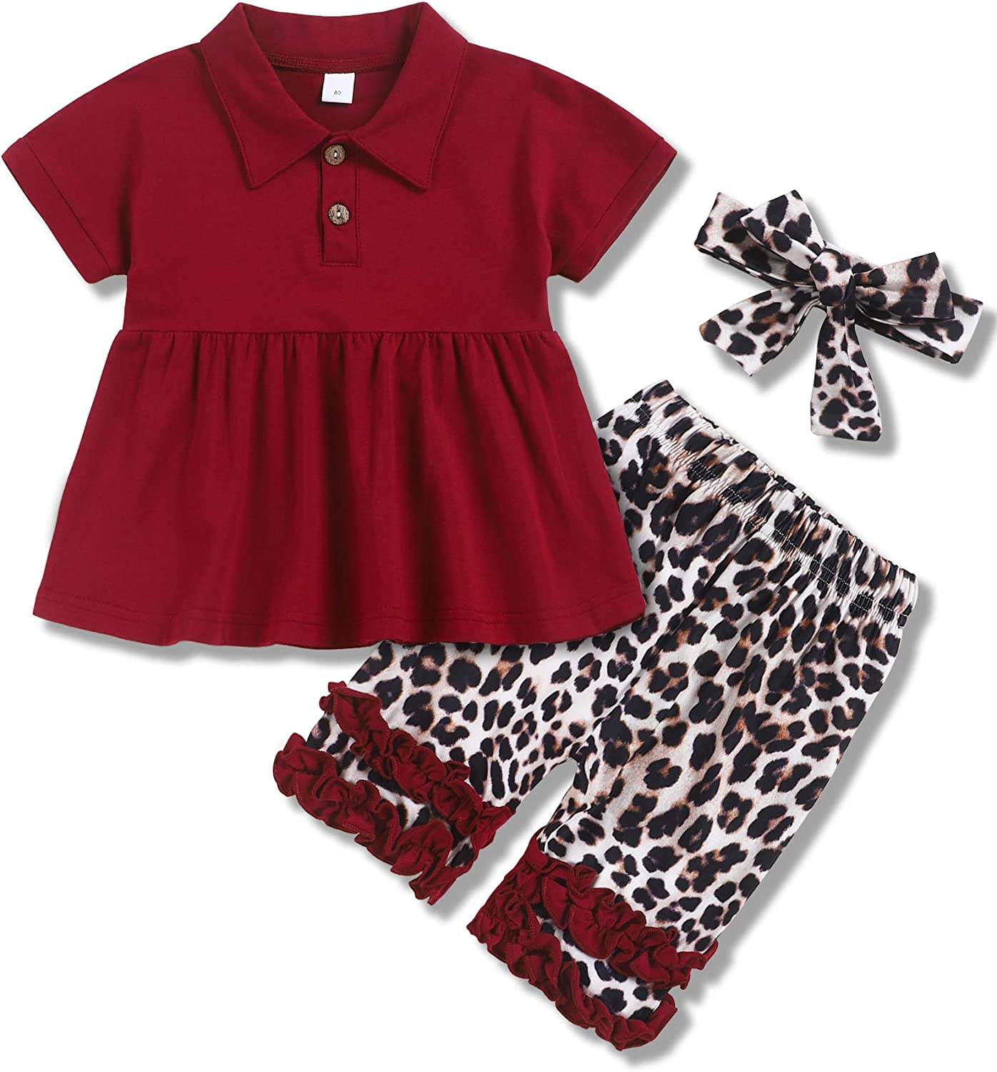 Toddler Baby Girl Summer Clothes Short Sleeve Shirt Floral Shorts with Headband Outfit Sets