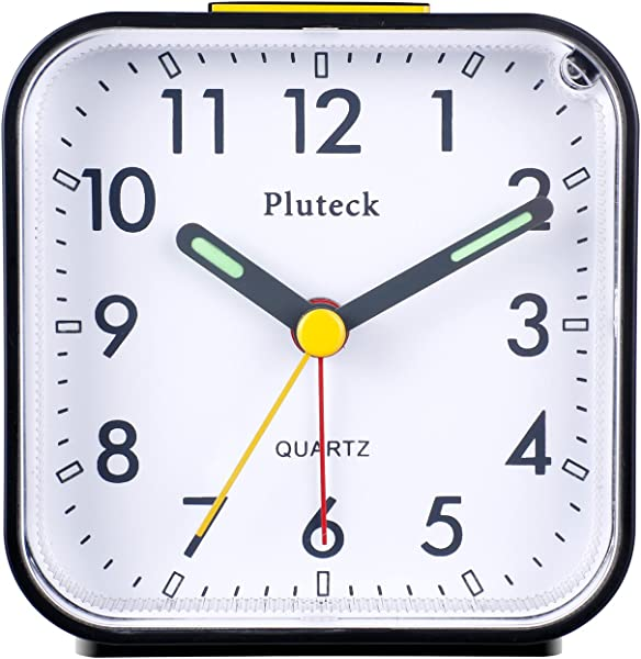 Pluteck Non Ticking Analog Alarm Clock With Nightlight And Snooze Ascending Sound Alarm Simple To Set Clocks Battery Powered Small Black