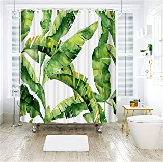 LIVILAN Tropical Shower Curtain, Palm Leaf Bath Curtains Fabric Bathroom Curtain Set with Hooks Green Plant Decorative Modern 72X 72 Inches Machine Washable Opaque
