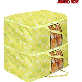 HOKIPO® Waterproof Blanket Cover Bag Large Size Clothes Storage Organizer Bag, 65 x 40 x 30 cm, Green - Pack of 2 (AR2900-GRN*2)
