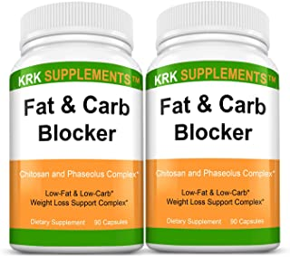 2 Bottles Fat and Carb Blocker with Phaseolus Vulgaris (White Kidney Bean Extract) Chitosan Extreme Diet Pills Weight Loss...