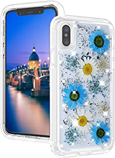 IphonexCase Compatible with Appple iPhone X Clear 10s 10 Ultra-Light Skin Silm S Glitter XsiphoneDurable Shockproof Cases Girly Flower Sparkly Luxury Bumper Natural Floral Cover 5.8 Inch (Blue)