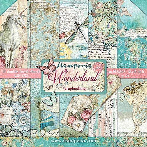 Stamperia SBBL38 Wonderland - Bloc de papel de doble cara (30,5 x 30,5 cm, 10 hojas), multicolor