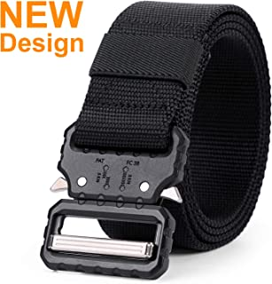 Tactical Belt, Military Style Webbing Riggers Nylon Belt with Heavy-Duty Quick-Release Metal Buckle 1.5 Inches Wide