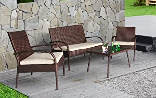 Cloud Mountain Outdoor Furniture 4 Piece Wicker Rattan Conversation Set Brown Modern Style Easy Assembly Ergonomic Comfortable Thick Cushions Outdoor Garden Patio Lawn Balcony Pool with Non-Slip Foot