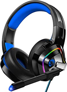 Best ZIUMIER Gaming Headset PS4 Headset, Xbox One Headset with Noise Canceling Mic and Rgb Light, PC Headset with Stereo Surround Sound, Over-Ear Headphones for PC, PS4, Xbox One, Laptop Review