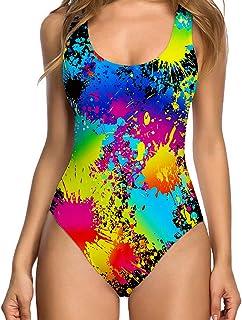 2e9b439ee28 TUONROAD Womens Vintage One Piece Tummy Control Swimsuit Retro Strap Floral  Print Swimwear Monokini
