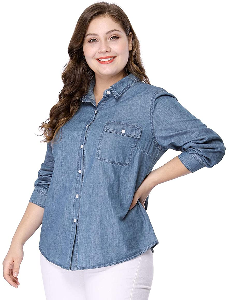 Agnes Orinda Women's Plus Size Long Sleeve Chest Pocket Chambray Shirt